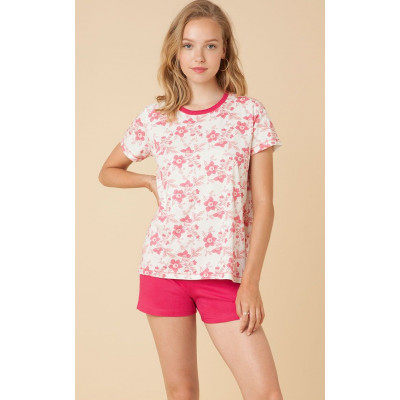 Хлопковая пижама с цветами на футболке