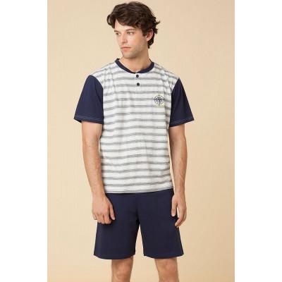 Мужская хлопковая пижама с полосками на футболке