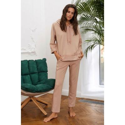 Домашние брюки из меланжевой поливискозной ткани