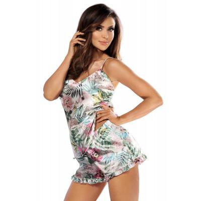 Атласная пижама Katie 01 с цветочным принтом