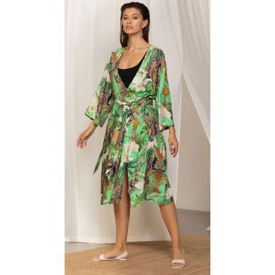 Халат из поливискозной ткани с тропическим принтом