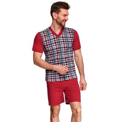 Мужская хлопковая пижама Roman с клетчатым рисунком